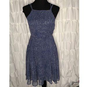 Lulus Happy Together Blue Polka Dot Lace Up Dress